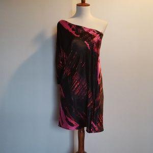 Pink/Black one shoulder dress